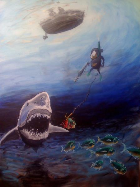 Boot, Schwarm, Fisch, Tauchen, Hai, Affe