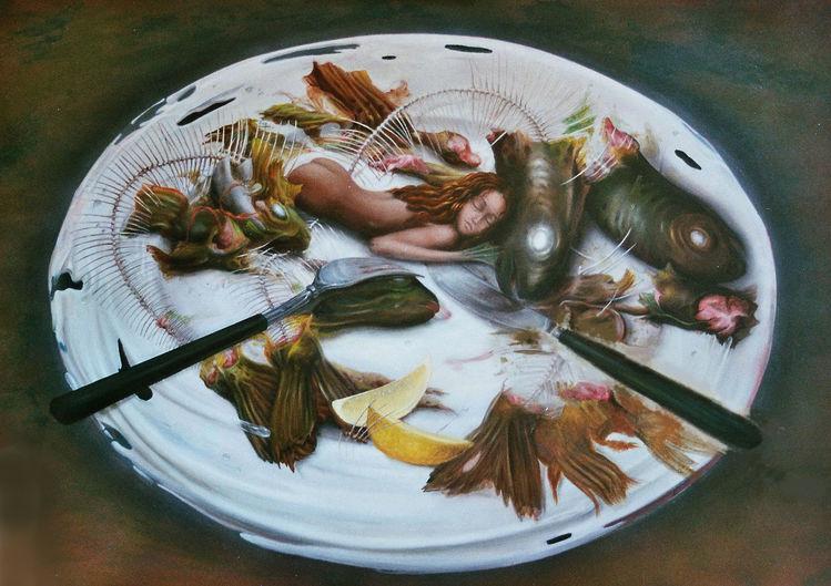 Teller, Gabel, Zitrone, Kopf, Fisch, Besteck