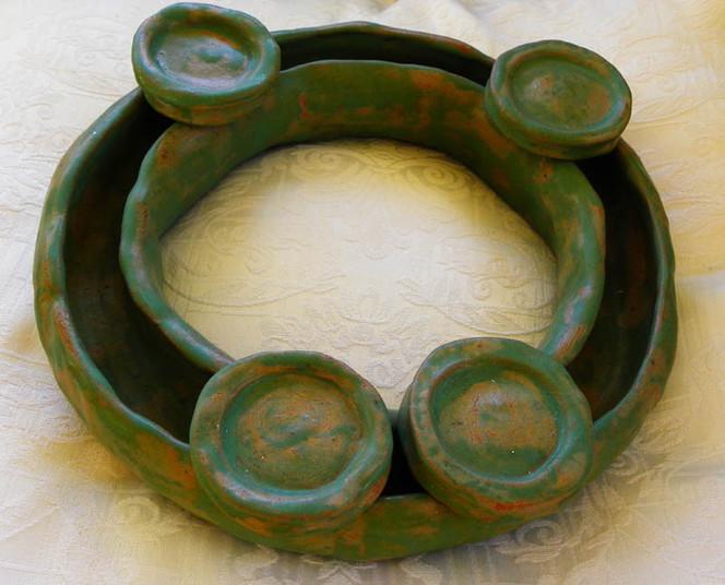 Keramik, Kerzenständer, Ring, Rund, Grün, Kunsthandwerk