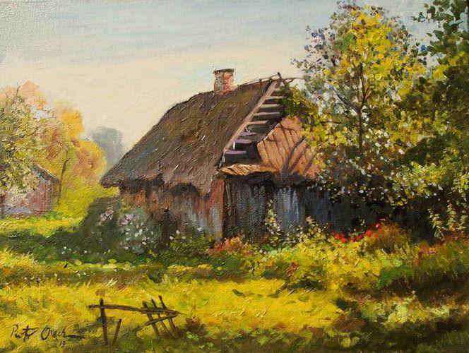 Blumen, Garten, Altes haus, Sommer, Malerei, Haus