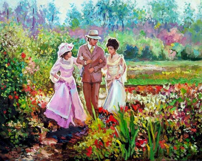 Sommer, Spaziergang, Garten, Menschen, Malerei