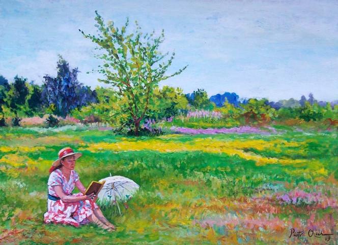 Sommer, Frau, Wiese, Malerei, Menschen
