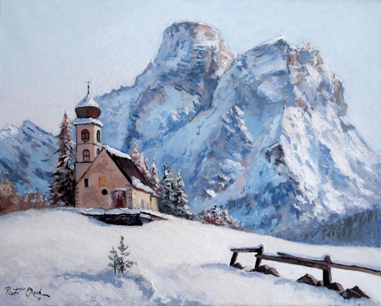 Schnee, Winter, Kirche, Dolomiten, Berge, Malerei