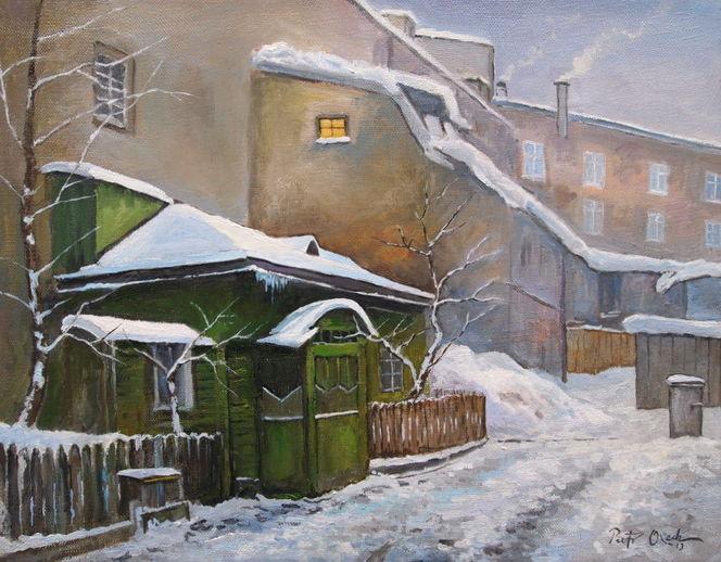 Schnee, Hinterhof, Abend, Winter, Malerei, Winterabend