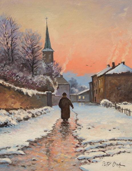 Provinz, Winter, Frau, Schnee, Abend, Malerei
