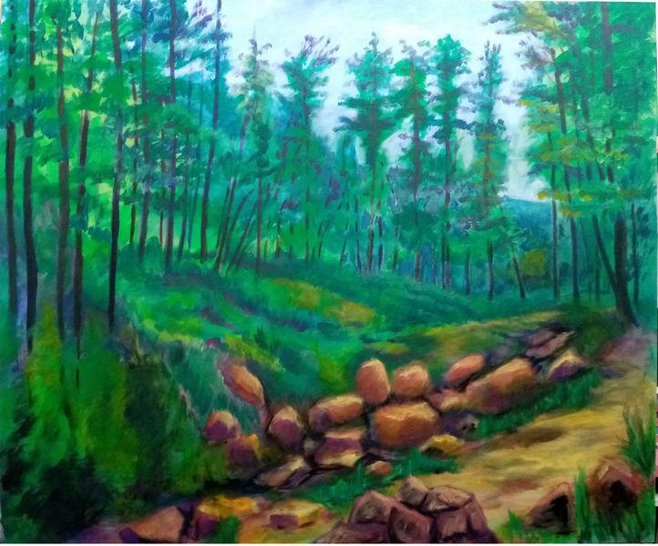 Wald, Landschaft, Malerei,