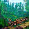 Landschaft, Wald, Malerei,