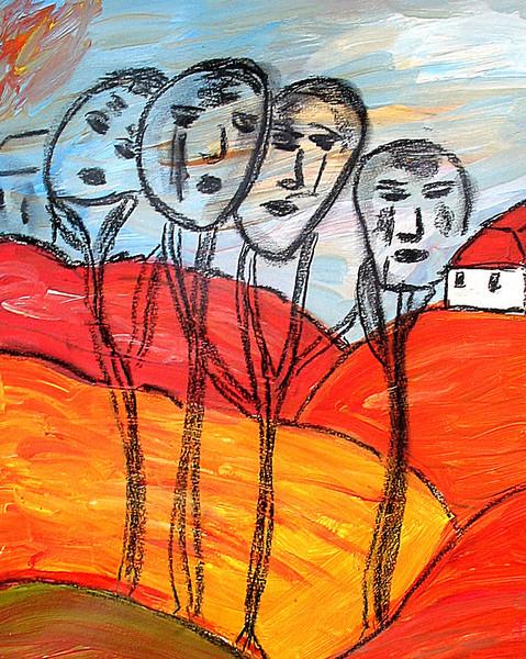 Malerei, Familie, Herbst