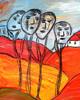 Malerei, Herbst, Familie