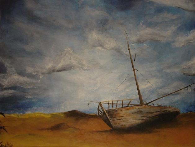Boot, Zinken, Landschaft, Malerei, Ebbe, Sand