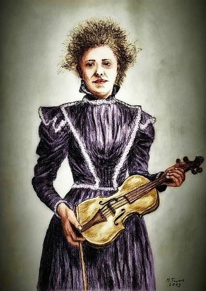 Geige, Violine, Frau, Zeichnungen, Portrait