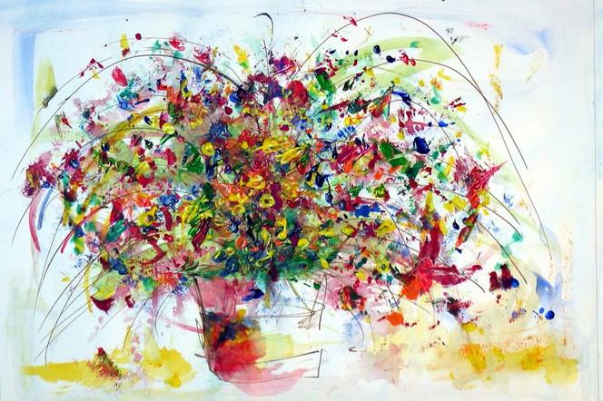 Abstrakt, Explosiv, Blumen, Strauß, Malerei, Wilder