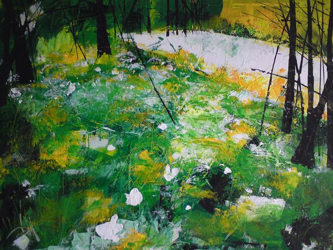 Acrylmalerei, Wald, Frühling, Lichtung, Abstrakt, Anemonen