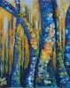 Blau, Birken, Gelb, Malerei