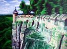 Felsen, Baum, Mauer, Malerei