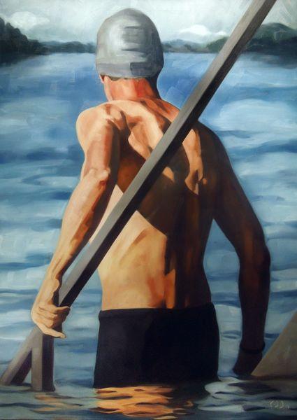 Mann, See, Rücken, Malerei