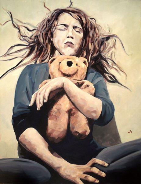 Kindheit, Spielzeug, Bär, Gesicht, Angst, Hände