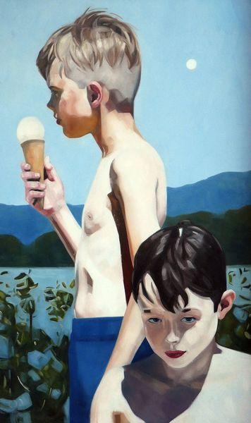 Kinder, Sommer, Eis, Malerei