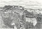Landschaft, Historische, Südfrankreich, Zeichnungen