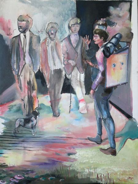 Beatles, Winken, Hund, Rucksack, Malerei