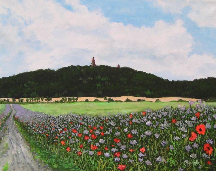 Mohn, Monument, Feld, Feldweg, Landschaft, Malerei