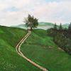 Baum, Berge, Wiese, Malerei