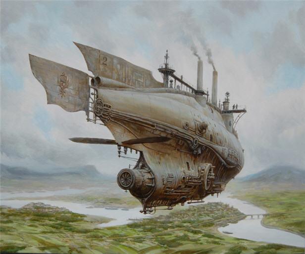 Steampubk, Landschaft, Luftschiffe, Dampf, Luftschiff, Schiff