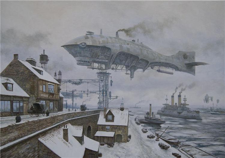 Landschaft, Winter, Steampunk, Stadt, Zeppelin, Schiff