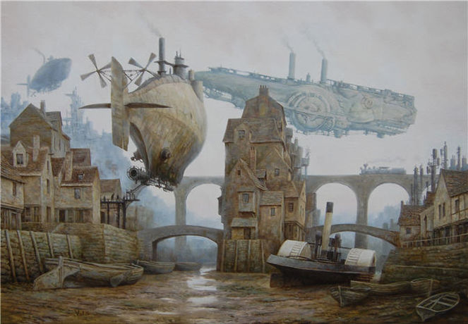 Landschaft, Steampunk, Dampfschiff, Luftschiffe, Zeppelin, Hafen