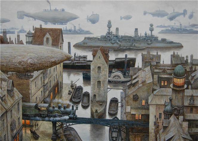 Steampubk, Luftschiff, Zeppelin, Landschaft, Stadt, Dampfschiff