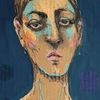 Frau, Dame, Blau, Zeichnungen