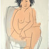 Frau, Stuhl, Malerei,