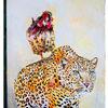 Hahn, Leopard, Sieg, Malerei