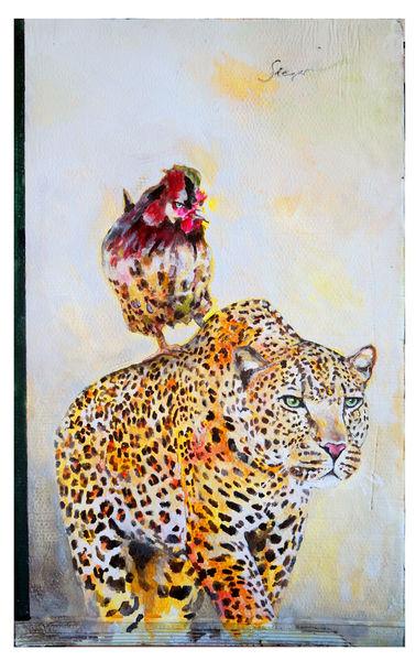 Leopard, Sieg, Hahn, Malerei