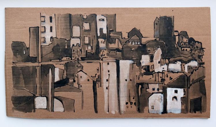 Stadt, Dorf, Zeichnungen, Plan