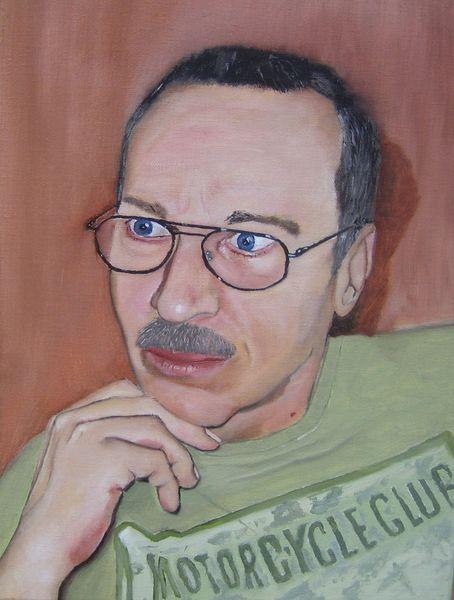 Portrait, Ölmalerei, Brille, Mann, Malerei,