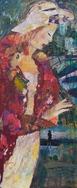 Mit hintergrundmalerei, Mittelgroß, Weißer hut, Frauenfigur, Roter mantel, Hochformatig