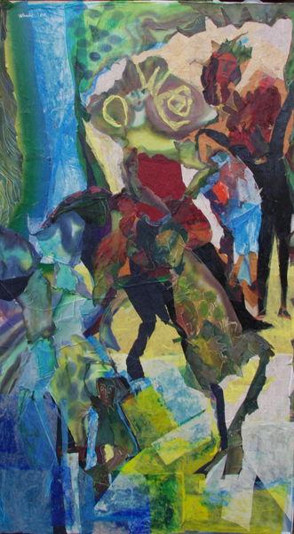 Großformat, Reiterin, Pferde, Malerei, Tiere