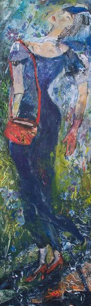 Rote schuhe, Dame, Rote tasche, Blaues kleid, Malerei