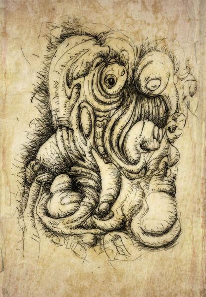 Kritisch, Masse, Tuschezeichnung, Zeichnungen, Abstrakt