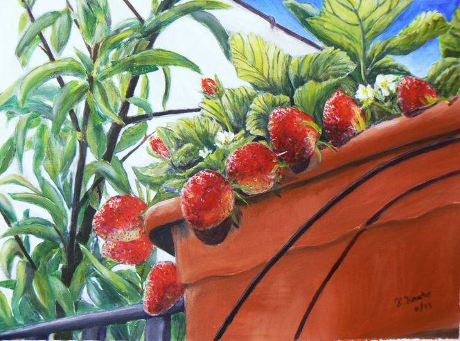 Blick zur terrasse, Acrylmalerei, Erdbeeren, Malerei