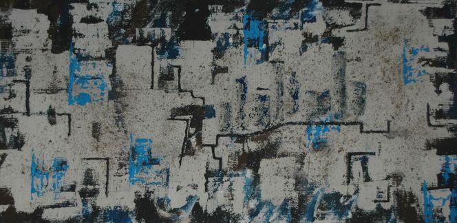 Acrylmalerei, Skyline, Stadt, Braun, Modern, Haus