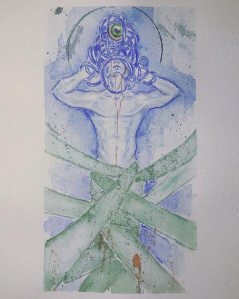Akt, Grün, Zeichnung, Aquarellmalerei, Wasserfarbe, Mann