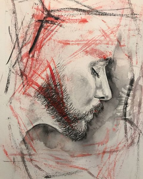 Portrait, Schön, Grafik, Wasserfarbe, Rot schwarz, Mann