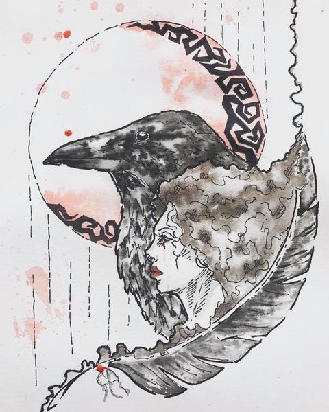 Zeichnung, Rot schwarz, Frau, Zeichnungen