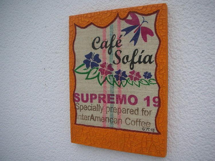 Kaffeesack, Strukturpaste kn17, Holzbildträger, Mischtechnik, Cafe