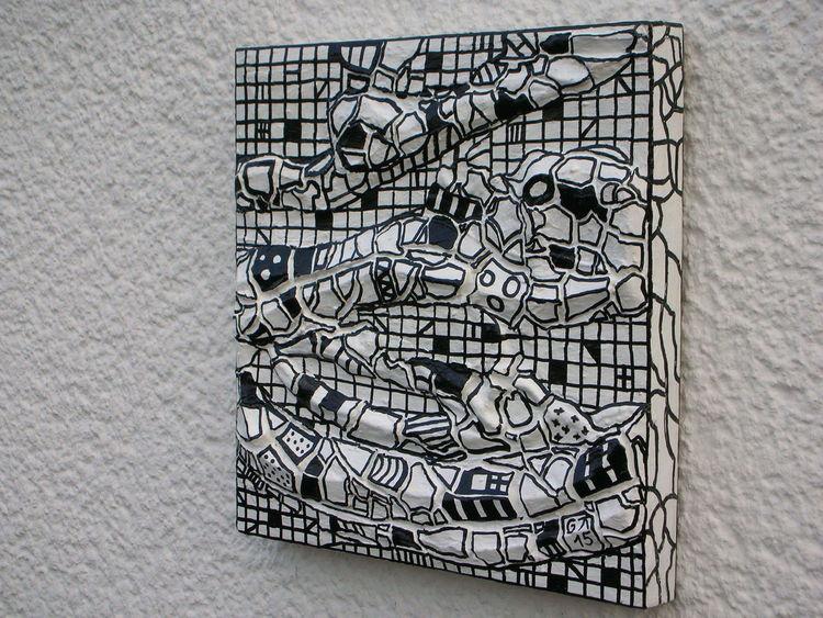 Holzbildhauerei, Schwarz weiß, Weiß, Malerei, Abstrakt