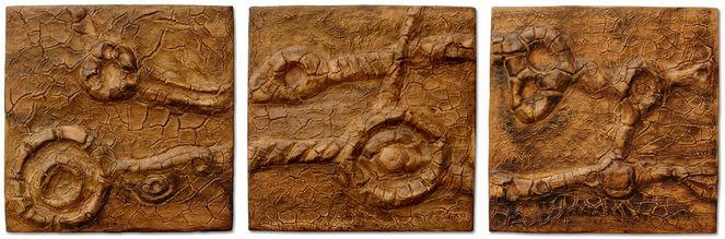 Tabak, Holzbildträger, Bruchstrukturpaste kn 17, Kunsthandwerk, Triptychon,