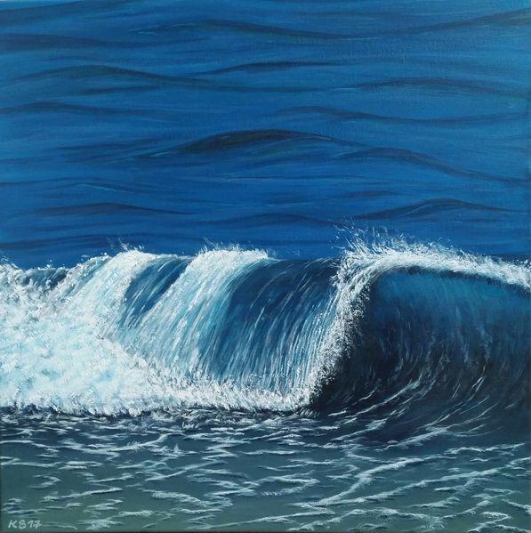 Welle, Blau, Meer, Malerei