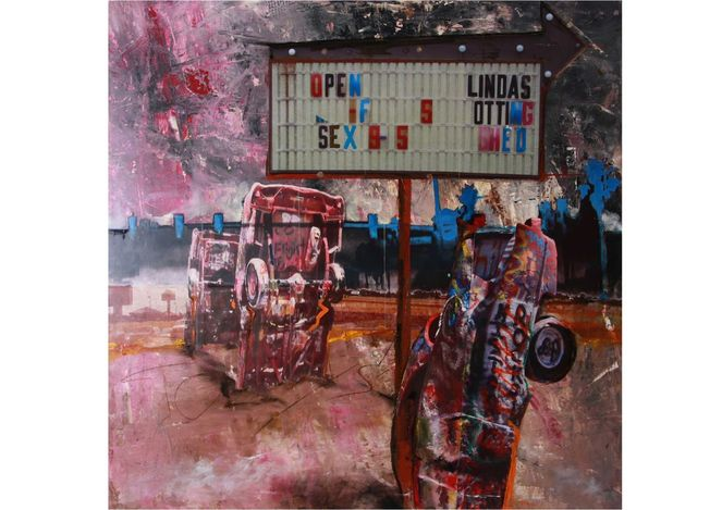 Collage, Artist udo rein, Route 66, Panel, Pop art, Collage on panel
